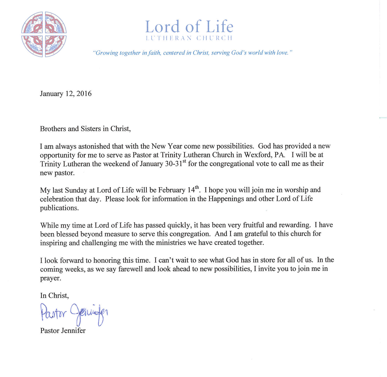 CONGREGATIONAL LETTER PASTOR JENN RESIGNATION Lord of Life